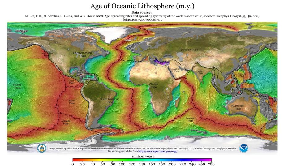 Карта возраста океанического дна